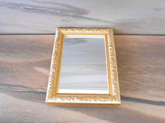 Vintage Small Wall Mirror Wooden Frame Hanging