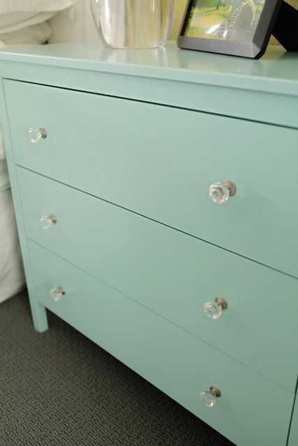 hemnes makeover: painted benjamin moore's 'artic blue' with added crystal knobs.: