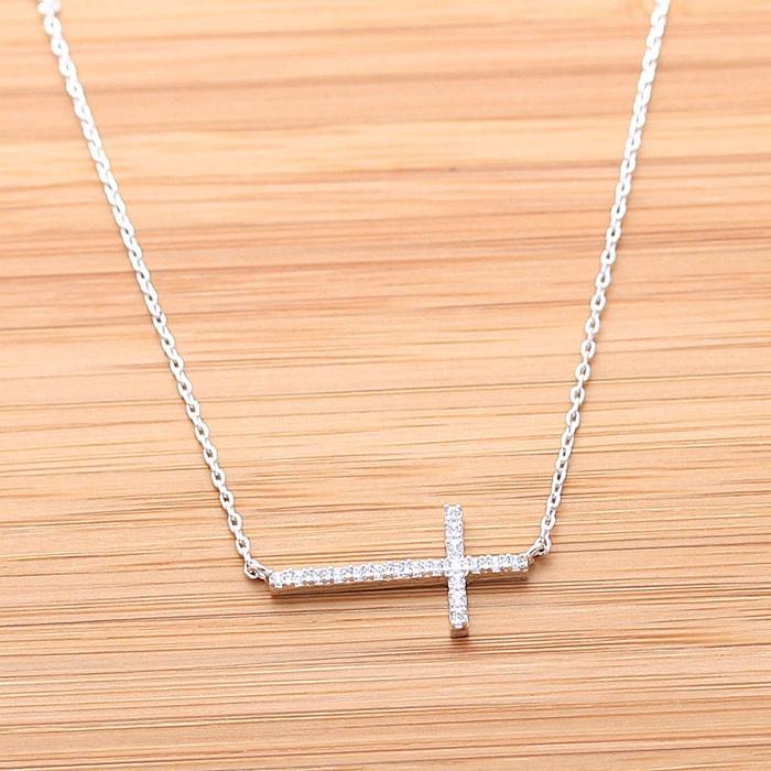 SIDEWAYS CROSS necklace with swarovski crystals