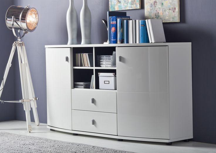 Design Wohnwand Straight ~ Modernes Sideboard mit viel Platz zum verstauen ! Sideboard in Weiss