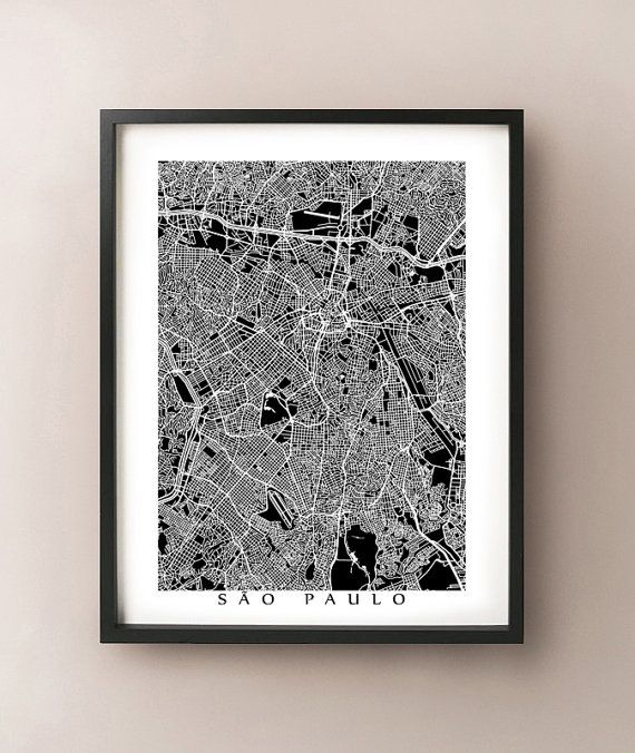 Sao Paulo, Brazil map art by CartoCreative