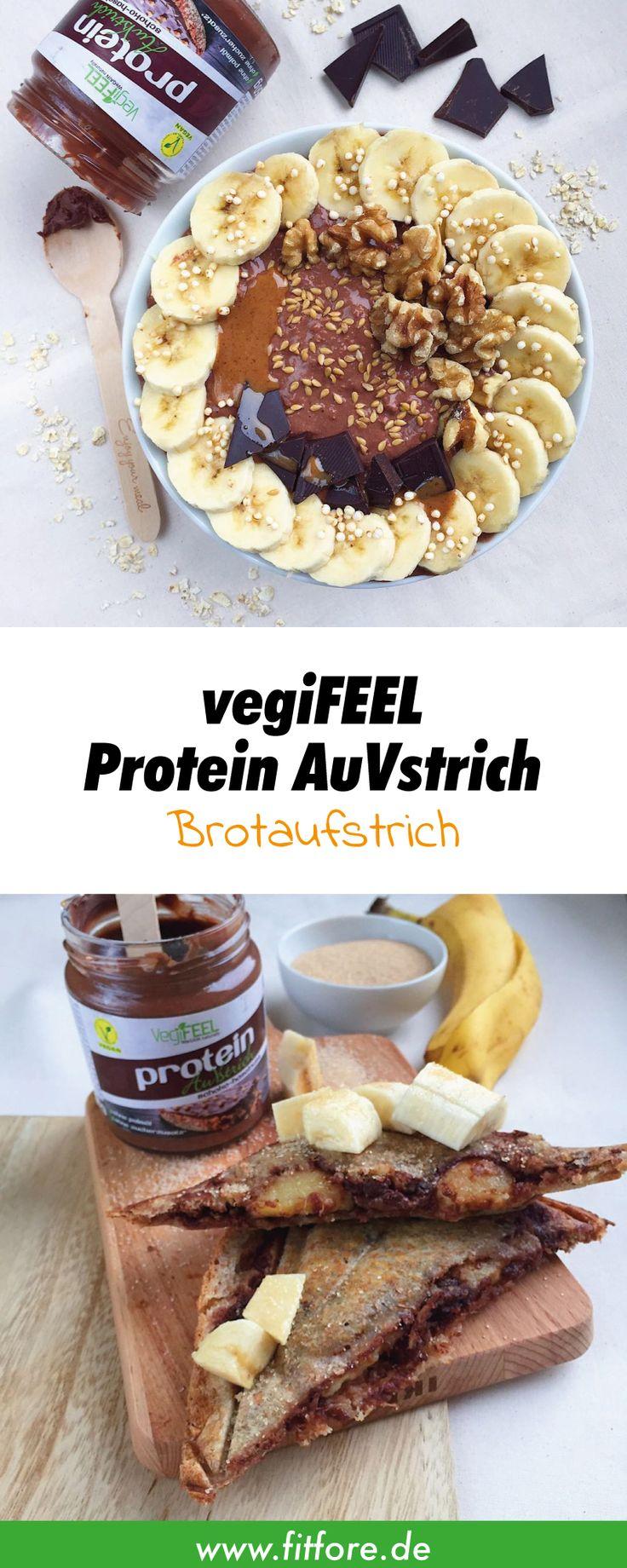 vegiFEEL Protein AuVstrich ist eine vegane Nuss-Nougat-Cream ohne Palmöl und Zucker. Den besonders hohe Proteinanteil im Schokoaufstrich liefert Erbsenprotein.