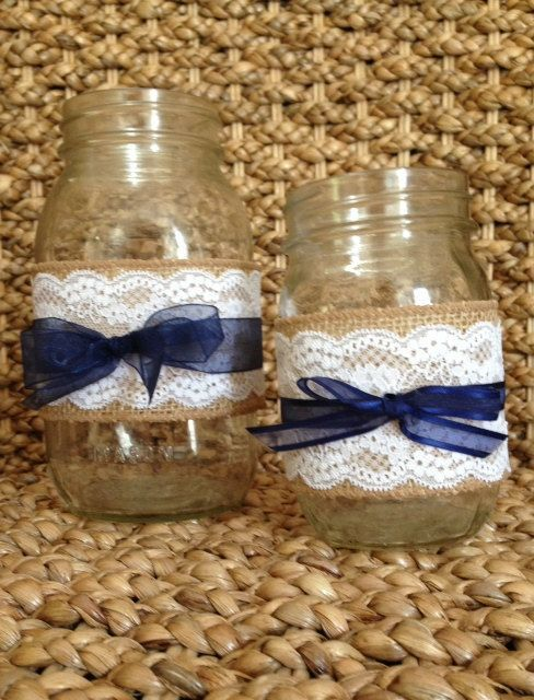 "Burlap Flowers in Jar | ... RUSTIC WEDDING DECORATIONS Burlap And Lace Mason Jar ""Sleeves"" Decor"