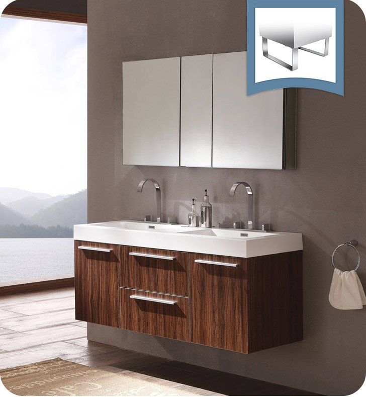 Fresca Fvn8013gw Opulento 54 Walnut Modern Double Sink Bathroom