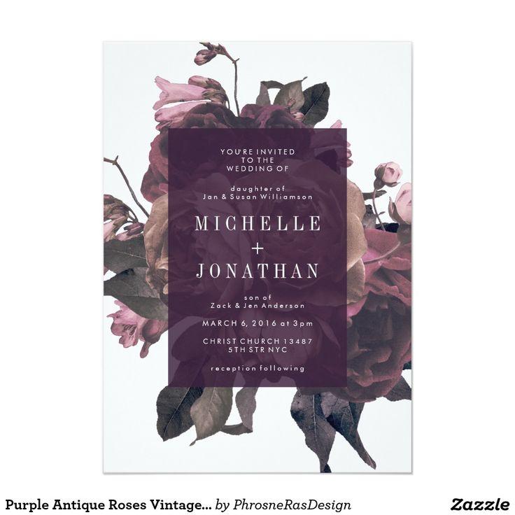 Purple Antique Roses Vintage Wedding Invitation 87