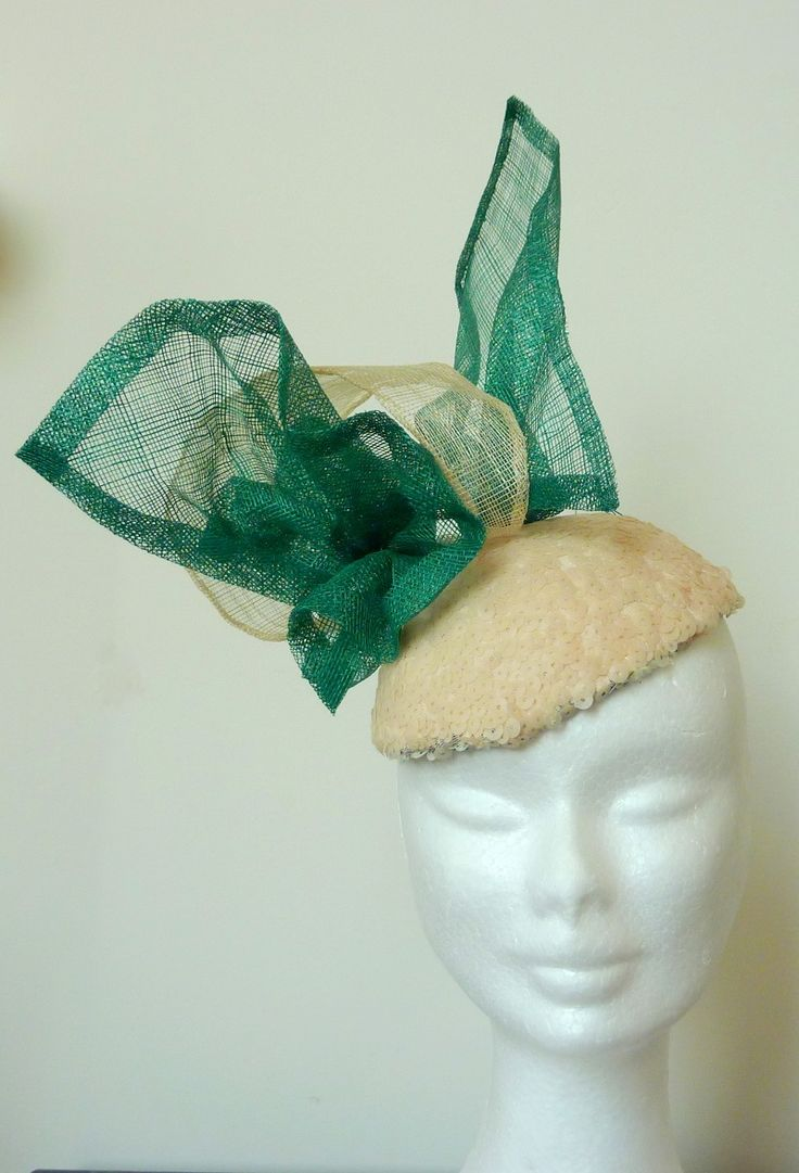 Race hat/ Melbourne Cup Hat green Pale pink sequin covered base, hand-blocked, emerald green and cream sinamay flourish