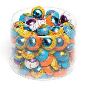 Yeux effrayants en chocolat. Friandises d'Halloween à glisser dans les pochettes-surprises des enfants lors des fêtes (Lot de 10).