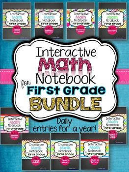 """This is the daily Interactive Math Notebook for First Grade BUNDLE of all 9 Units! This BUNDLE contains ALL 9 Units that will take you through an entire year of first grade math notebooking!"""
