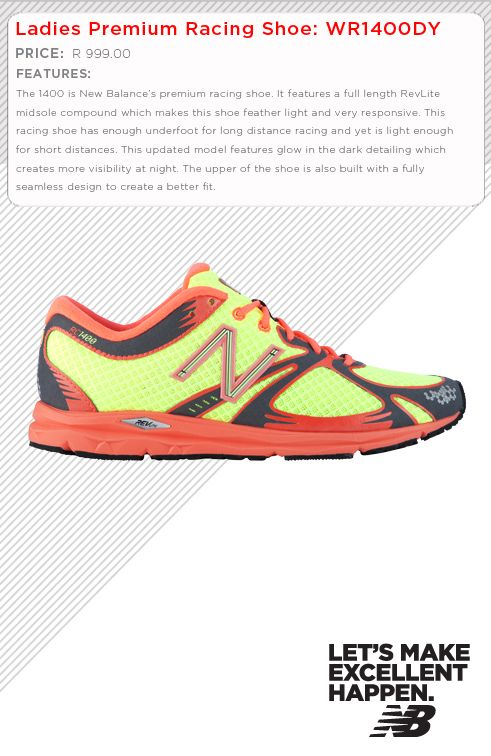 Ladies - Meet our Top end Premium Racing shoe. Lets see you glow in the dark.