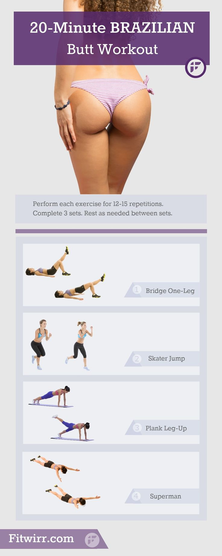 If your butt isn't summer ready yet, this 20-Minute Brazilian Butt Sculpting Workout is all you need to get it shaped up just in time. No-equipment, no-gym and no-squat.  4 simple bodyweight exercises you can do at home. #buttliftworkout #bikinibutt #buttexercises