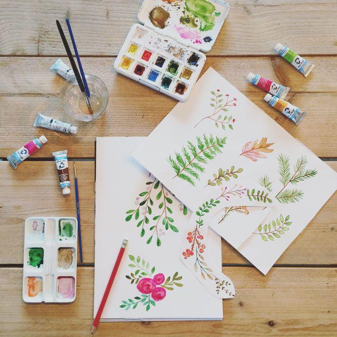 Home - De website van liefskarlijn! Illustration, paintings, leaves, watercolor