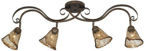 """Organic Amber Glass 41"""" Ceiling Track Fixture by ProTrack. $179.99. This 4-light ceiling track fixture offers rustic charm and beauty while also providing practical, adjustable lighting. The shapely frame gets a weathered bronze finish. Four fixtures glow behind organic style amber glass. An eye-catching design that's at home in the kitchen and elsewhere.. Save 33%!"""