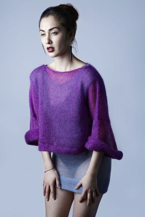 Purple mohair cropped sweater --