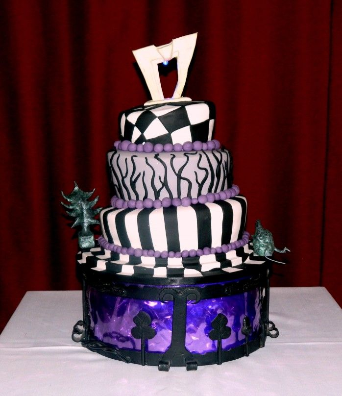 tim burton wedding cake | Each tier was carved from a rich chocolate cake filled with creamy ...