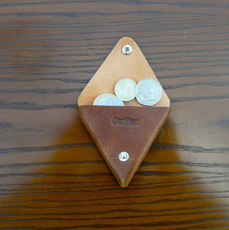 Outpost Leathergoods leather triangle coin purse, in midbrown pebble grain. Many other colors and variations available. $7.50