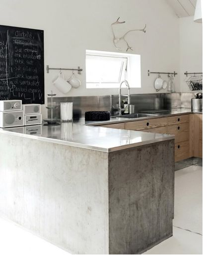 concrete and plywood kitchen