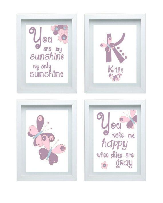Farfalla Nursery Decor citare si sono My Sunshine parete arte personalizzata nome Custom iniziale imposta di 3-8 x 10 stampa ragazza arredamento camera lilla Pin