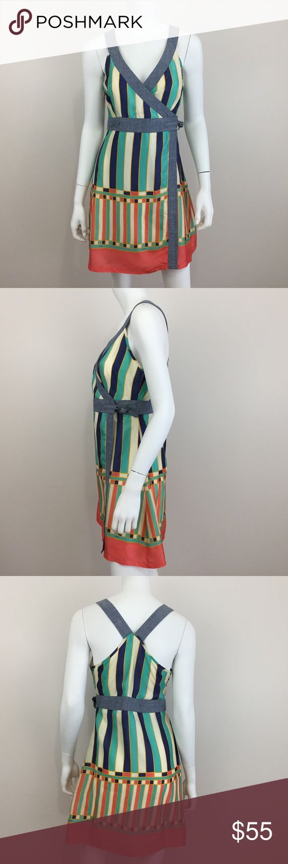 Diesel M Multi Color Stripe Geo Wrap Dress EUC Measurements according to brand: bust 34, waist 27, hips 37. #0007 Diesel Dresses