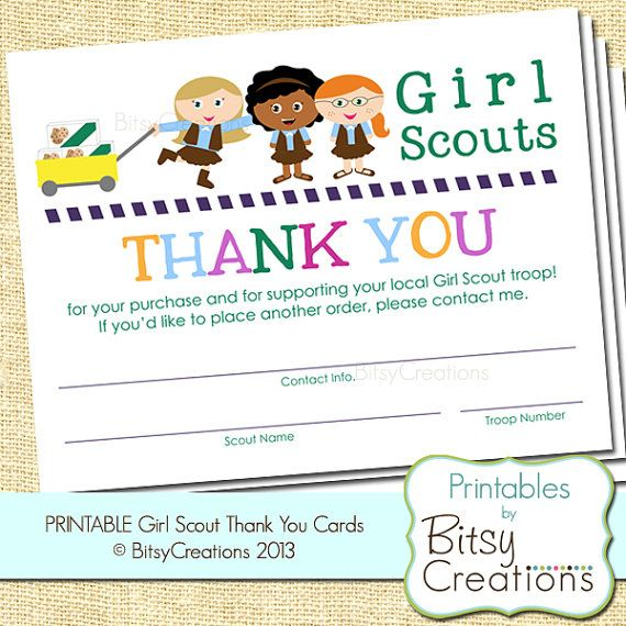 brownie scout generic thank you printable cards by