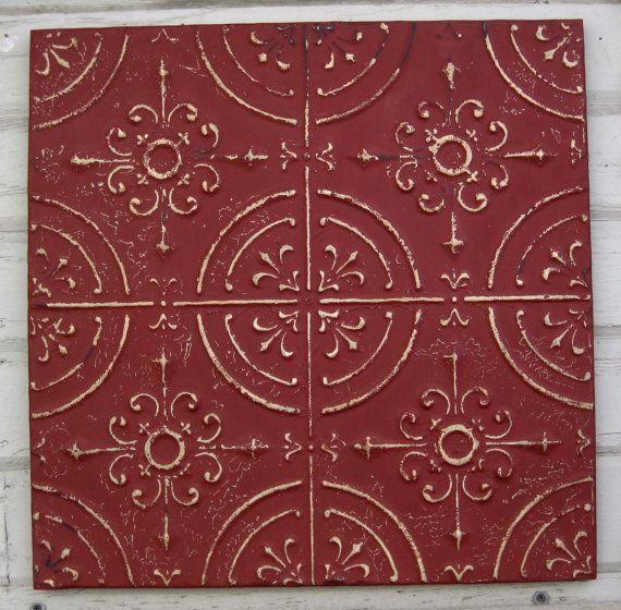 Framed 2 X2 Antique Ceiling Tin Tile Circa 1910 Red