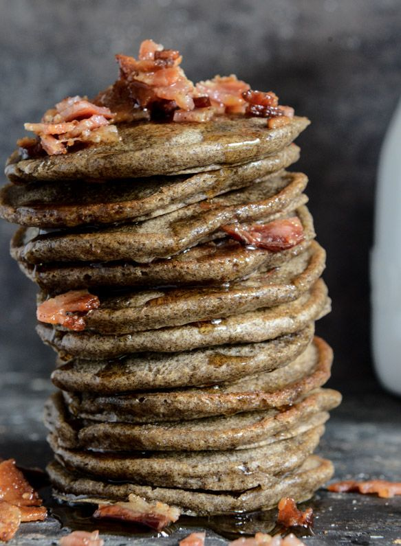 Mini Buckwheat Bacon Pancakes with Bourbon Syrup | howsweeteats.com
