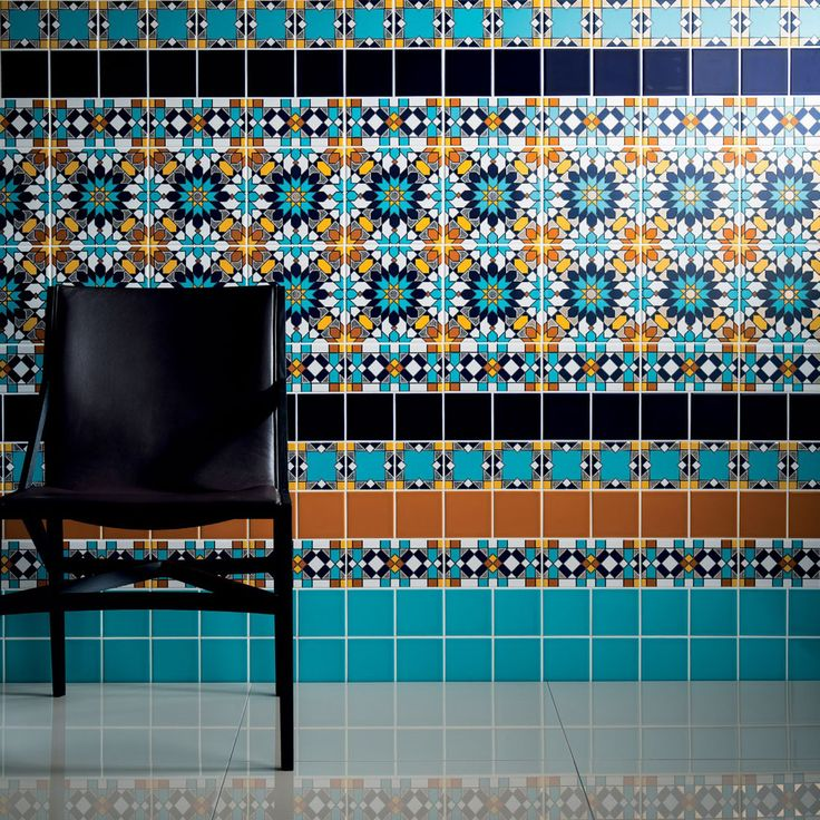 "Arabesque - Almas Tiles.  These Arabesque Almas Tiles are made up of geometric designs combining striking pattern and colour for maximum effect. These highly decorative tiles will add strong character and life into any interior schemes, reviving a mundane blank canvas into a spectacular feature.  Almas means ""Diamond""."