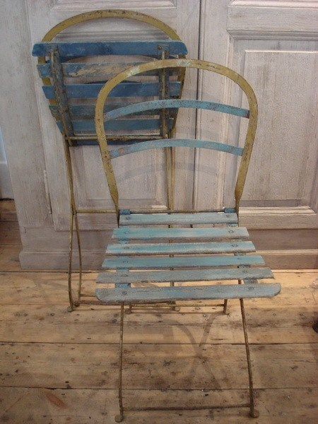 French Folding Garden Chairs With Original Paint