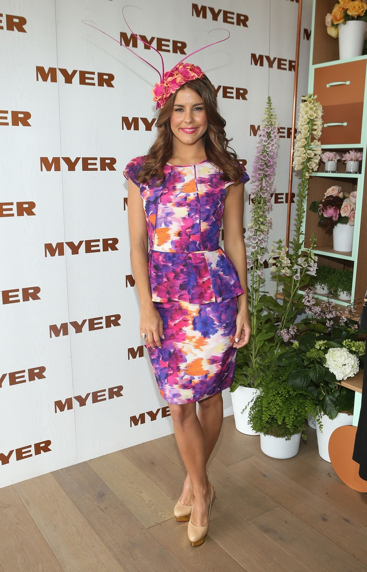 Myer Ambassador Lauren Phillips wearing NF by Nicola Finetti in the Myer Marquee on Melbourne Cup Day #cupday #myermarquee