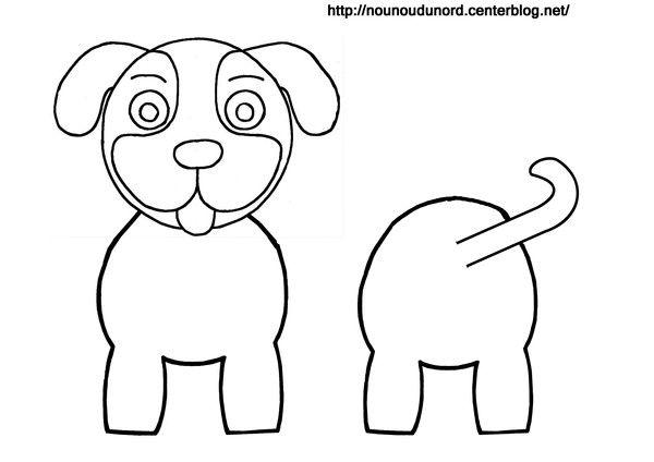 Coloriage chien pour rouleau de papier wc