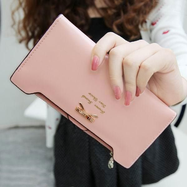Super Cute & Super Practical Women's Leather Wallet w/Bowknot