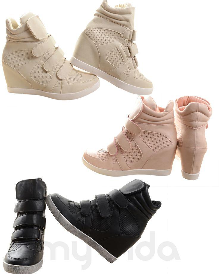 Sneakers donna alte con rialzo interno e chiusura con strappi. Scarpe donna da ginnastica comode e facili da calzare #style #shoes #news #fashion #shoes #LOVE #Wedge #streetstyle