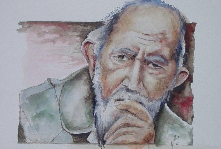 Henri Grouès, dit l'abbé Pierre.   (aquarelle)