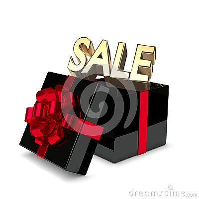3d rendering of gift box with sale text isolated over white background