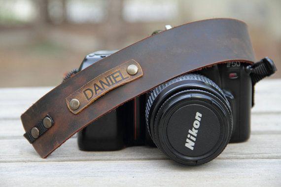 In pelle personalizzati fotocamera cinghia, cinghia di cuoio, regalo per gli amanti della fotografia, macchina fotografica marrone cinturino