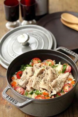 ベジタブルピラフのワイン豚添え / Vegetable pilaf served with Wined pig.  #recipes #staub