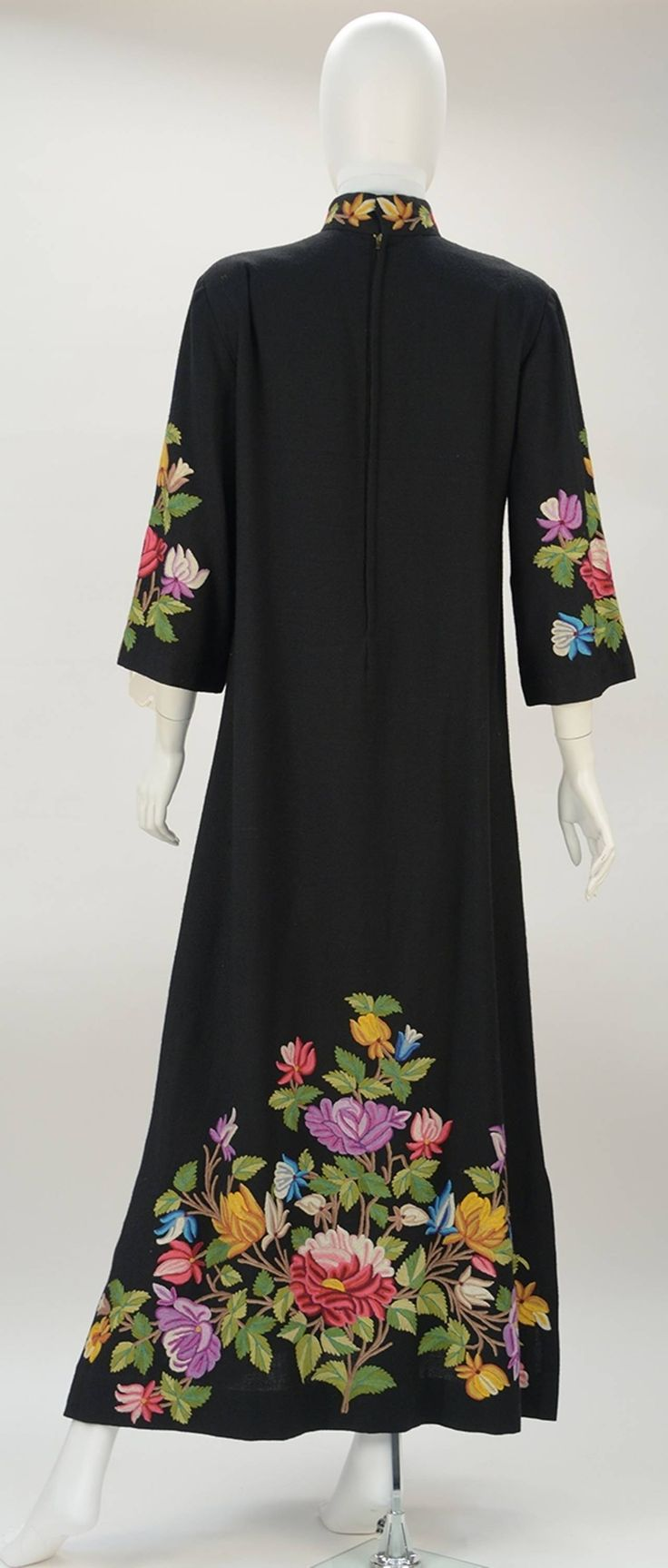 1950's Black Crewel Embroidered Dress image 2