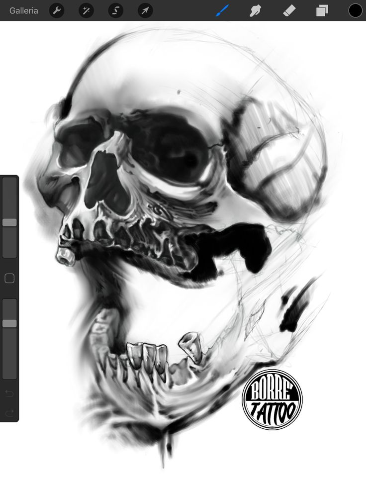 Disegno di teschio. Fabio borrelli Napoli tattoo iPad ipadpro
