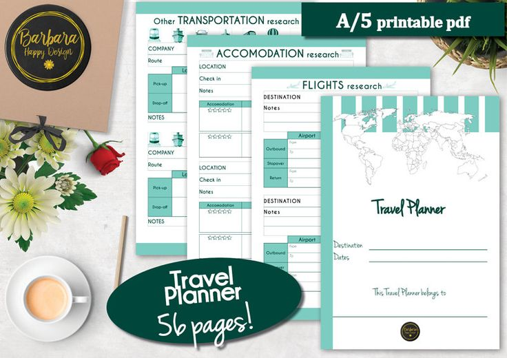 Printable Travel Planner, Vacation Planner Kit, Trip Planner, Travel Planner Kit, Travel Itinerary, Travel Printable, Vacation Planner di BarbaraHappyDesign su Etsy