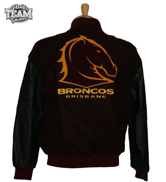 Brisbane Broncos NRL wool body and leather sleeves embroidered varsity jacket back by Team Varsity Jackets. www.facebook.com/TeamVarsityJackets  www.teamvarsityjackets.com.au