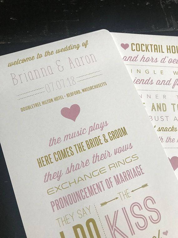 Program Fans Custom Wedding Programs For Blush Gold Ceremony