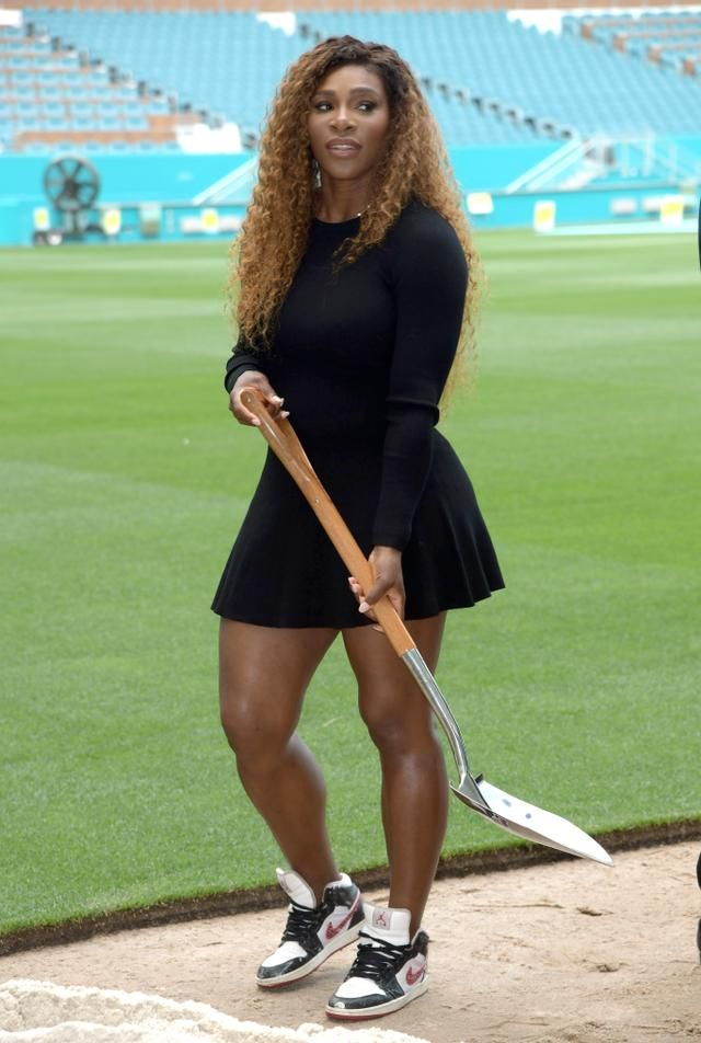 b14349b39572 Serena Williams Rocks a Little Black Dress With Air Jordans at the Miami  Open Ground Breaking Ceremony