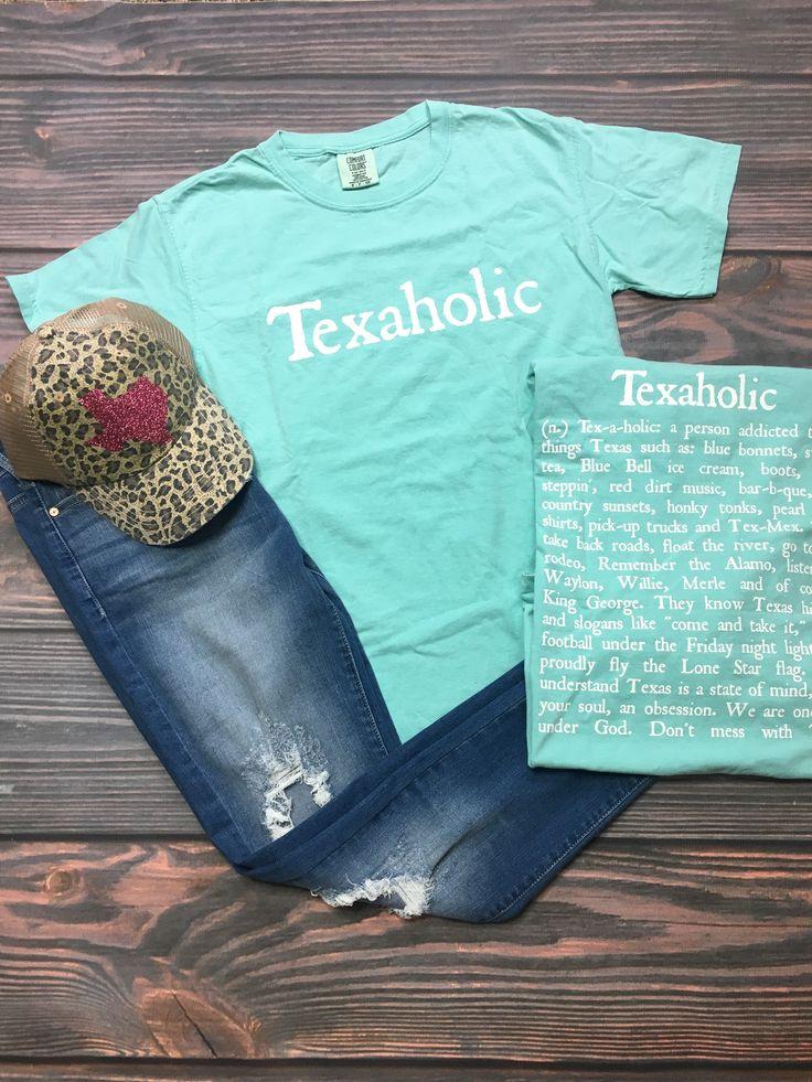 Texaholic Texas Tee in Mint (S-XL)