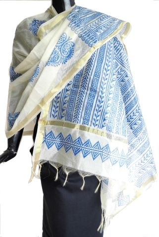 Hand Block Print Dupatta on Chanderi- White&Blue: Buy hand block print dupattas, organza dupattas, handwork dupattas online from GiftPiper.com
