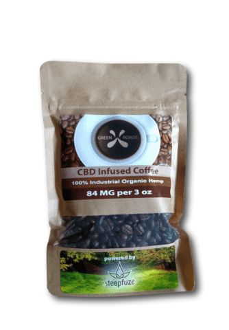 CBD infused coffee - 3oz - whole bean  NEW! This CBD infused coffee brought to you buy Green Roads and Steepfuse is a true breakthough in CBD infused beverages.  This 3 oz bag contains the highest quality, responsibly sourced coffee beans freshly blind-roasted and then naturally infused with solvent-free full spectrum CBD extract.