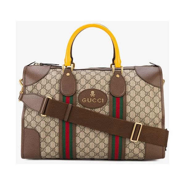 Gucci Monogram Duffle Bag With Webbing (€1.445) ❤ liked on Polyvore featuring men's fashion, men's bags, brown, mens leather bags, mens monogrammed toiletry bag, mens duffel bags, mens leather duffle bag and mens leather duffel bag