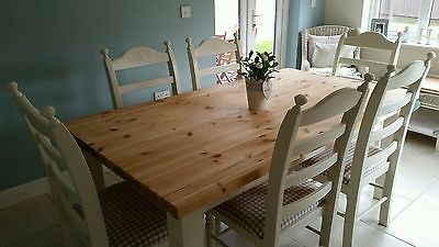 Large Shabby chic chunky pine farmhouse table and 6 chairs in Laura Ashley White