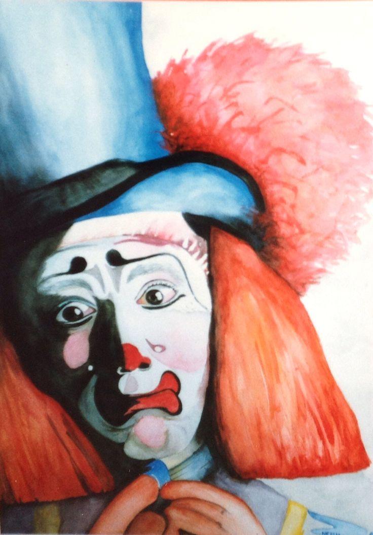 ⭐️G. My Art. Blue Clown. Watercolour. 'Blue Me Away'