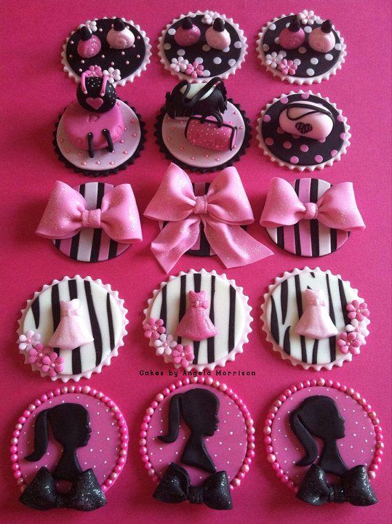 Set Barbie cupcake/cookie toppers by CakesbyAngela on Etsy
