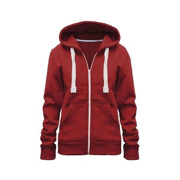 Ladies Girl WomensNEW PLUS SIZE Zip Up Sweatshirt Hooded Hoodie Coat... ($2.87) ❤ liked on Polyvore featuring tops, hoodies, plus size zip up hoodie, red hooded sweatshirt, women plus size tops, red zip up hoodie and hooded pullover
