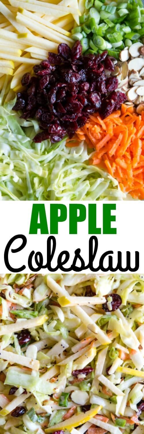 This easy Apple Coleslaw is great for lunch or dinner and every party you will ever host or attend. Everything can be prepped ahead of time. via /culinaryhill/ #ad